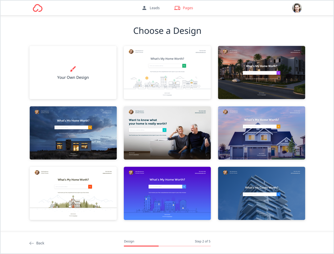 A grid of landing page templates is displayed.